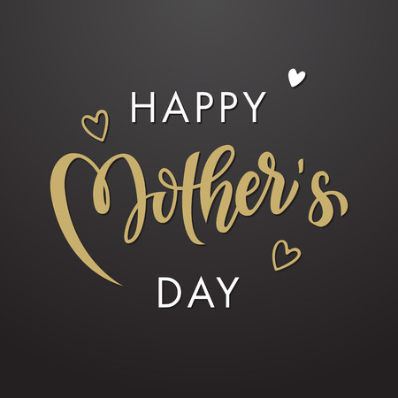 Día de la Madre de tarjetas de felicitación del vector. Floral deja el fondo del modelo. Dibujado a mano las letras del título. Ilustración de vector