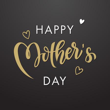 dia: Día de la Madre de tarjetas de felicitación del vector. Floral deja el fondo del modelo. Dibujado a mano las letras del título.