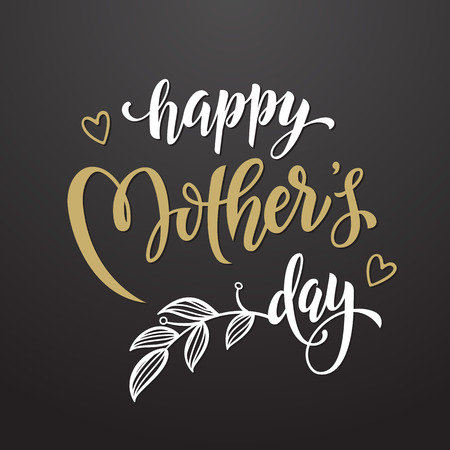 mother's day: Mothers Day vector greeting card. Floral leaves pattern background. Hand drawn lettering title.