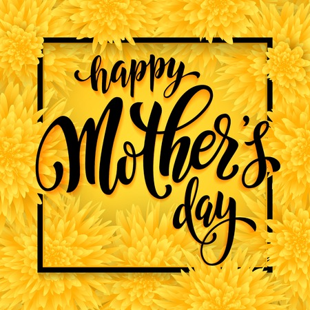 Mothers Day vector greeting card. Yellow floral pattern background. Hand drawn lettering title.