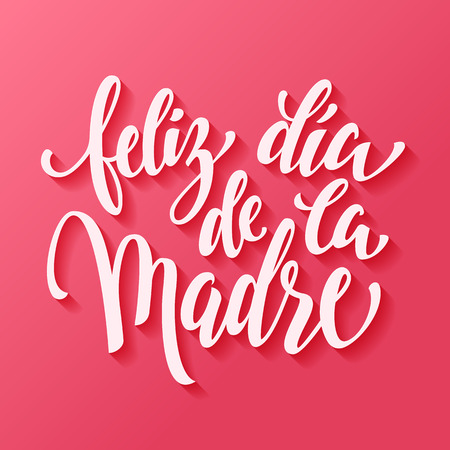 Feliz dia de la madre. Mothers Day vector greeting card. Hand drawn lettering title in Spanish. Pink red background. Stock Illustratie