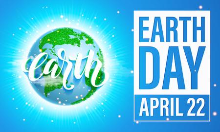 Plakat Dzień Ziemi w tytule. Wektor liternictwo Ilustracja zielony globu planety z trawy, światła słonecznego i niebieskiego nieba. Zapisz środowiska pojęcia zielonego.