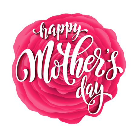 mother's day: Mothers Day greeting card. Pink red floral pattern background.