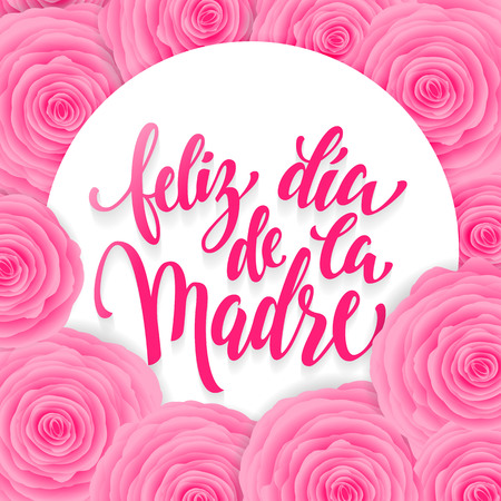 Feliz dia de la madre. Mothers Day greeting card. Pink red floral pattern background.  lettering title in Spanish