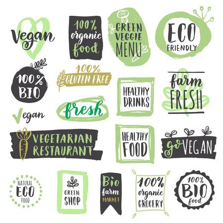 음식: 건강한 유기농 비건 식품 라벨 및 태그 신선한. 삽화. 채식 에코 그린 개념 일러스트