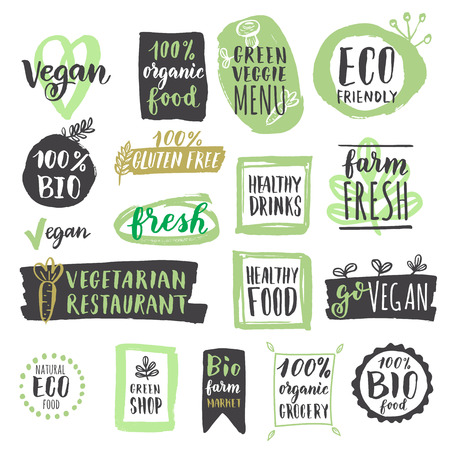 Fresh healthy organic vegan food labels and tags. illustration. Vegetarian eco green concept