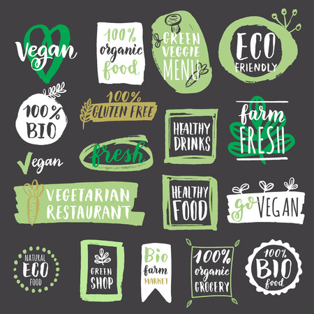 organic farm: Fresh healthy organic vegan food labels and tags. illustration. Vegetarian eco green concept