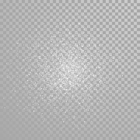 Vector diamond glitter splatter. Star light particles sparkles. Twinkling sparks lights. Transparent background.