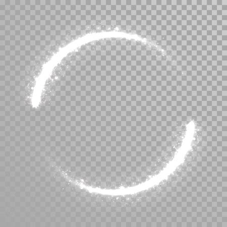 Vector fonkelend licht staart cirkel. Comet trail. Twirling lichten staart. Transparante achtergrond. Stock Illustratie