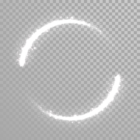 Vector sparkling light tail circle. Comet trail. Twirling lights tail. Transparent background. Çizim