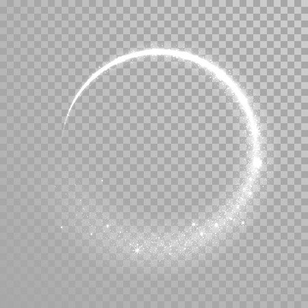 Vector sparkling light tail circle. Comet trail. Twirling lights tail. Transparent background. Illustration