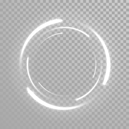 Vector sparkling light tail circle. Comet trail. Twirling lights tail. Transparent background.