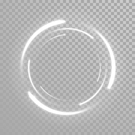 transparent background: Vector sparkling light tail circle. Comet trail. Twirling lights tail. Transparent background. Illustration