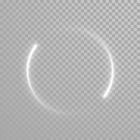twirling: Vector sparkling light tail circle. Comet trail. Twirling lights tail. Transparent background. Illustration