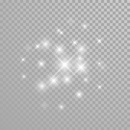 Vector diamond glitter splatter. Star light particles sparkles. Twinkling sparks lights. Transparent background.