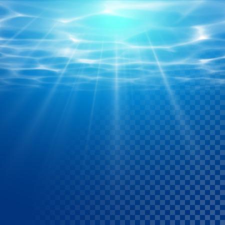 Vector water texture wallpaper on transparent background. Sun light beams reflection. Underwater light diffraction. Water texture illustration with sunlight.