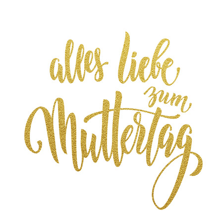 Liebe: Muttertag Liebe vector greeting card. Mother Day hand drawn gold glitter calligraphy lettering German title. White background.