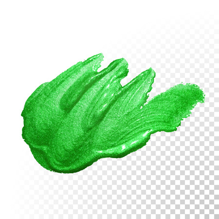paint brush stroke: Vector green watercolor glitter brush stroke. Polish splash line trace. Abstract shape green oil paint smear dab on transparent background.