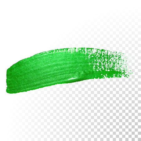 Vector green watercolor glitter brush stroke. Polish splash line trace. Abstract shape green oil paint smear dab on transparent background.