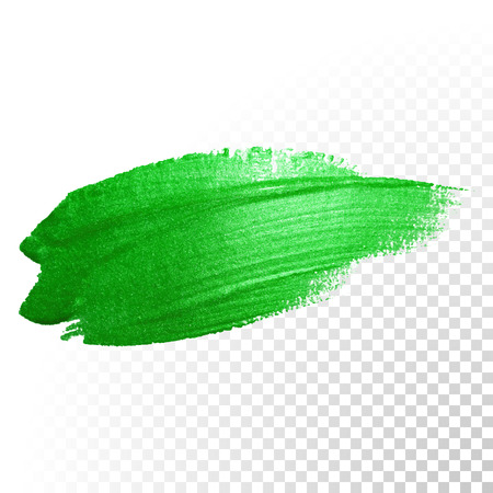 dab: Vector green watercolor glitter brush stroke. Polish splash line trace. Abstract shape green oil paint smear dab on transparent background.