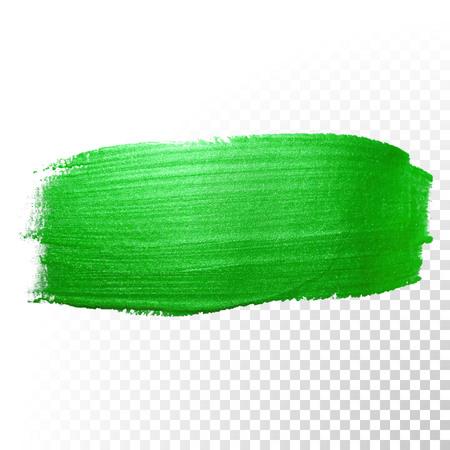 Vector groene aquarel glitter penseelstreek. Poolse splash lijn trace. groene olie verf vlek schar abstracte vorm op transparante achtergrond. Stock Illustratie