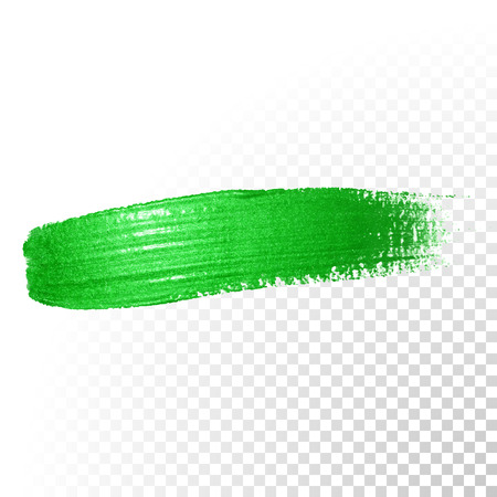 watercolor smear: Vector green watercolor glitter brush stroke. Polish splash line trace. Abstract shape green oil paint smear dab on transparent background.