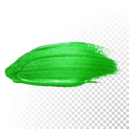 transparent brush: Vector green watercolor glitter brush stroke. Polish splash line trace. Abstract shape green oil paint smear dab on transparent background.
