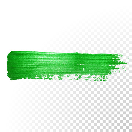 Vector green watercolor glitter brush stroke. Abstract polish splash trace. Green oil paint smear dab line on transparent background Vettoriali