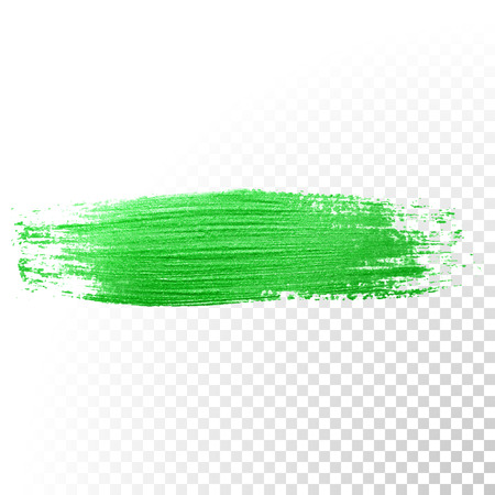 oil paint: Vector green watercolor glitter brush stroke. Abstract polish splash trace. Green oil paint smear dab line on transparent background Illustration