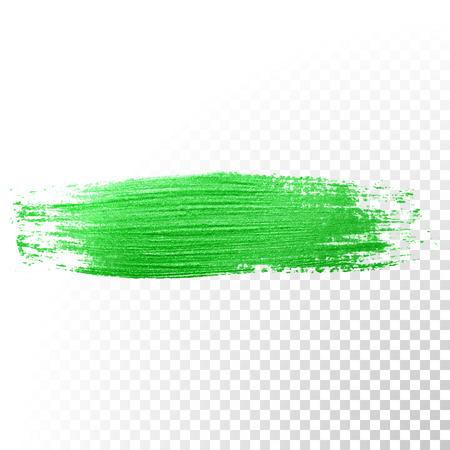 Vector groene aquarel glitter penseelstreek. Abstract polish splash spoor. Green olieverf uitstrijkje schar lijn op transparante achtergrond