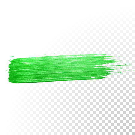 Vector green watercolor glitter brush stroke. Abstract polish splash trace. Green oil paint smear dab line on transparent background Illustration