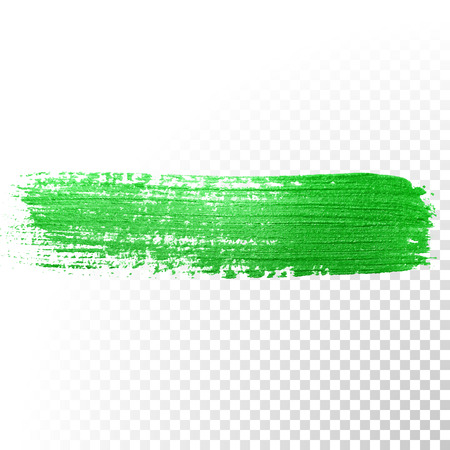 Vector green watercolor glitter brush stroke. Abstract polish splash trace. Green oil paint smear dab line on transparent background Çizim