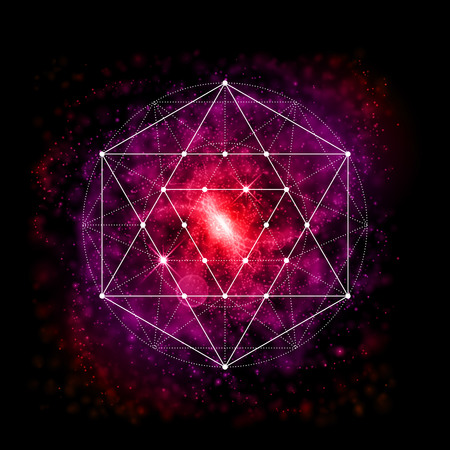 Sacred geometry abstract vector illustration. Symbol of alchemy, religion and spirituality. Metatrons Cube. Flower of life sign. Neon space glowing background.
