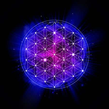 Sacred geometry abstract vector illustration. space explosion. Symbol of gensis, alchemy, religion and spirituality. Metatrons Cube. Flower of life sign. Neon space glowing background.
