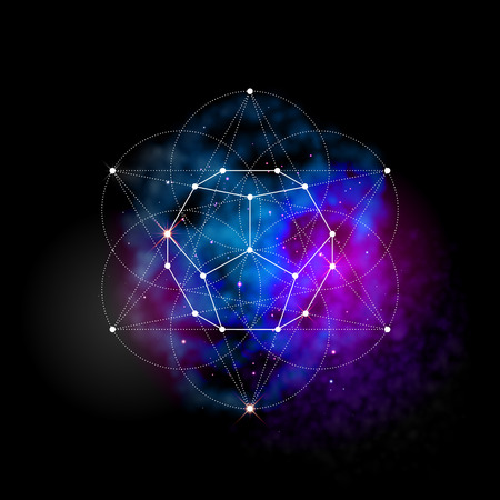 Sacred geometry abstract vector illustration. Flower of life symbol. Metatrons Cube. Neon space glowing background. Vectores