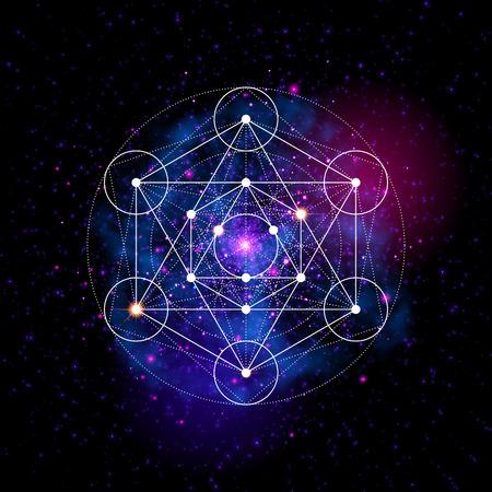 La geometría sagrada resumen ilustración vectorial. Flor del símbolo de la vida. Metatrons Cubo. el espacio Fondo de neón que brilla intensamente. Ilustración de vector
