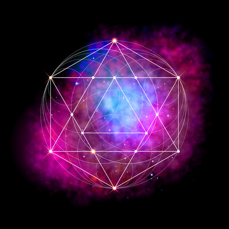 esoterism: Sacred geometry symbol. Abstract cosmic vector illustration. Flower of life Metatrons Cube. Neon space glowing background.