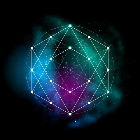 cosmology: Sacred geometry symbol. Abstract cosmic vector illustration. Flower of life Metatrons Cube. Neon space glowing background.