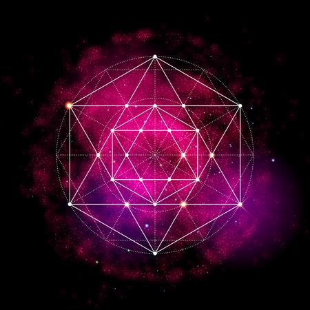 Heilige Geometrie-Symbol. Abstrakte kosmische Vektor-Illustration. Blume des Lebens Metatrons Cube. Neon Raum leuchtenden Hintergrund.