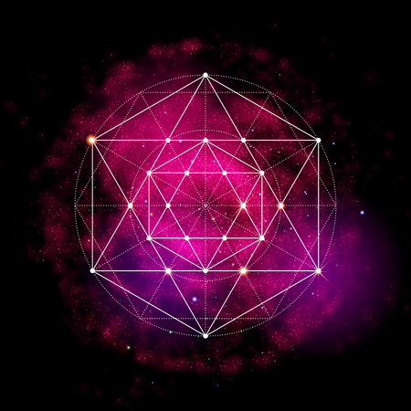 esotericism: Sacred geometry symbol. Abstract cosmic vector illustration. Flower of life Metatrons Cube. Neon space glowing background.