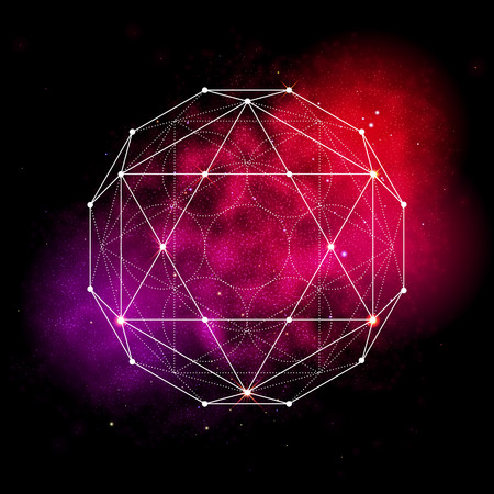 kabbalah: Sacred geometry symbol. Abstract cosmic vector illustration. Flower of life Metatrons Cube. Neon space glowing background.