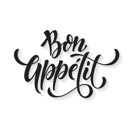 Bon Appetit texto. Vector de la caligrafía del título de tinta