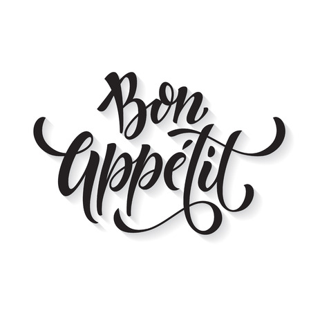 Bon Appetit text. Vector ink calligraphy title