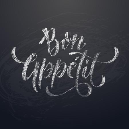 Bon Appetit dibujo de tiza caligrafía texto del título en el fondo pizarra. Ilustración del vector