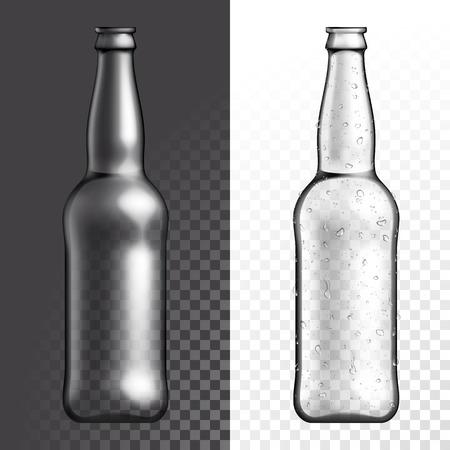 condensacion: Vector de cristal transparente botella de textura. bebida de la cerveza botella de plástico vacía en el fondo blanco y negro transparente.