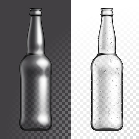 condensation: Vector transparent glass texture bottle. Beer drink empty plastic bottle on transparent white and black background. Illustration