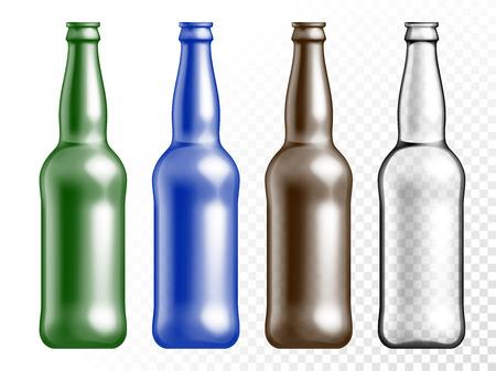 벡터 투명 색 유리 질감 병 설정합니다. 투명 한 흰색 배경에 맥주 음료 빈 플라스틱 병.
