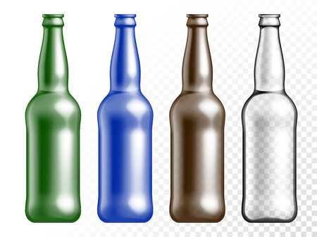 glass bottle: Vector transparent color glass texture bottle set. Beer drink empty plastic bottle on transparent white background.