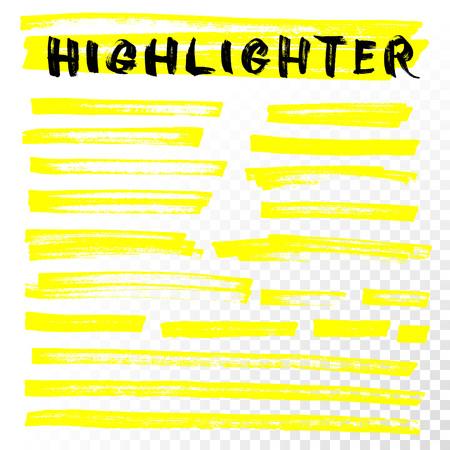 Vector Highlighter Pinsel Linien. Markierungsstift Highlight unterstreichen Schlaganfällen. Gelbe Aquarell von Hand gezeichnet Highlight Set
