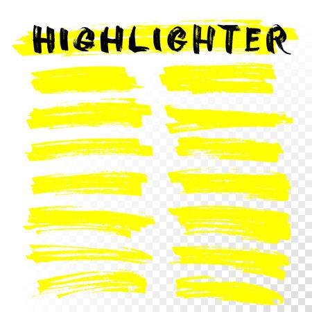 ベクトル蛍光ライン。マーカー ペン ハイライト下線ストローク。黄色の水彩手描きハイライト セット  イラスト・ベクター素材